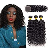 Wet and Wavy Bundles with Closure 10 12 14+10 Inch Lianlian Water Wave Bundles with Closure Human Hair 1B# Water Hair with Closure Free Part