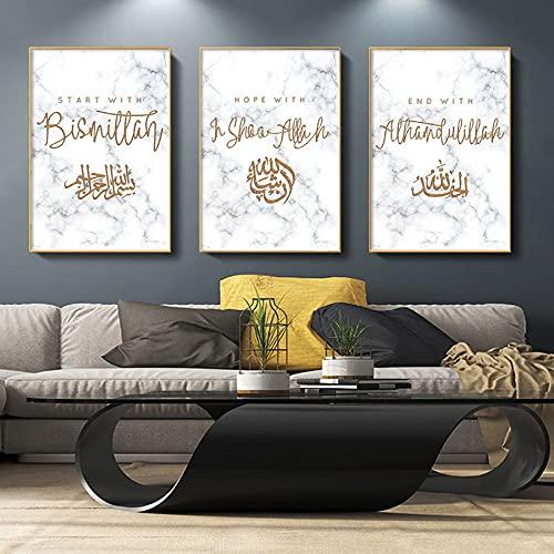 Canvas schilderij Moslim Wall Art Canvas Poster Tableau Islam Prints Arabische Kalligrafie Lof Allah schilderij…