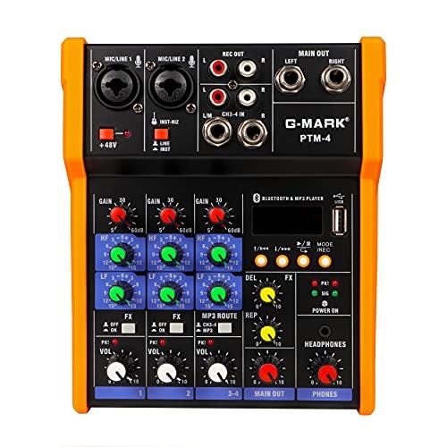 Mischpult,G-MARK 4 Kanal Professional Audio Mischpult USB bluetooth Musik Stereo Mixer Stereo für Live und Studio