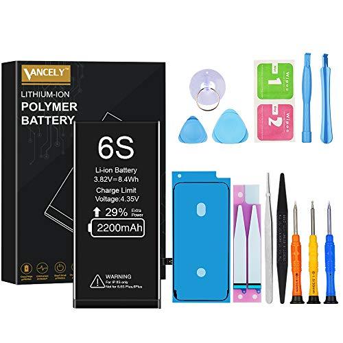 Vancely-batterij voor iPhone 6s, originele 2200 mAh vervangende batterij met hoge capaciteit met gereedschapsset en reparatieset, batterij vervangingshandleiding, 2 jaar garantie 100%