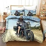 JXSMYT Juego de ropa de cama de Motocross, 3D, sexy, 1 funda nórdica de 220 x 240 cm, 2 fundas de almohada, para niños (XGMV de 9,200 x 200 cm + 2 x 80 x 80 cm)
