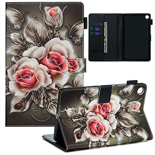 LMFULM® Hülle für Huawei MediaPad M5 (8,4 Zoll) PU Lederhülle Smart Hülle Cover Ständer Schutzhülle Flip Cover Rose
