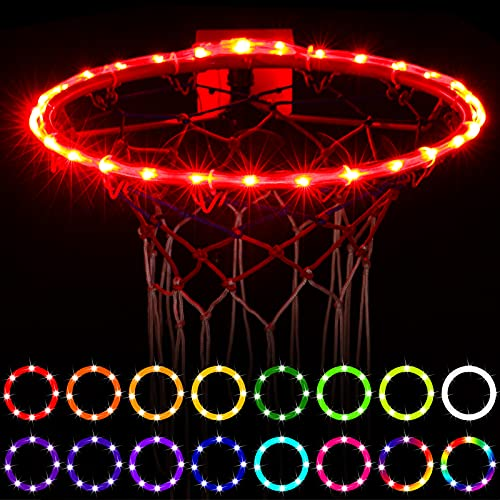 WAYBELIVE LED Basketball Hoop Lights, Remote Control Basketball Rim LED Light, 16 Color Change by Yourself, Waterproof,Super Bright to Play at Night Outdoors ,Good Gift for Kids