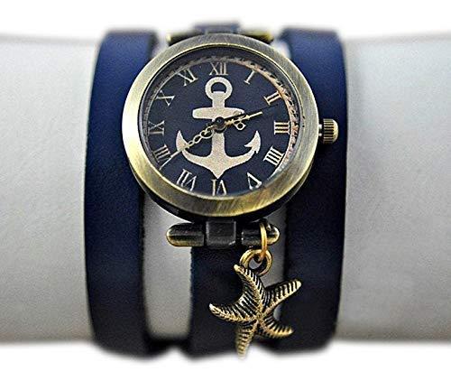 Maritime Armbanduhr mit Wickelarmband aus Leder und Seestern-Anhänger - Geschenk für Sie - Schmuck-Geschenk - Handmade Geschenk