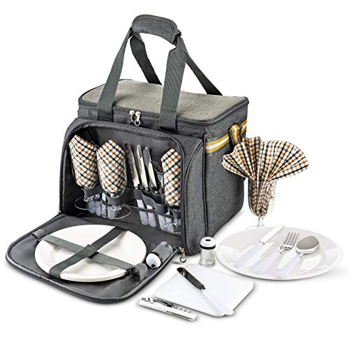 Scuddles Picnic Basket with Utensils - Extra Large Picnic Basket for 4 - Premium Picnic Basket Kit - Picnic Basket with Blanket includes Stainless Steel Spoons Sorks Plates Napkins Wine With Flatware