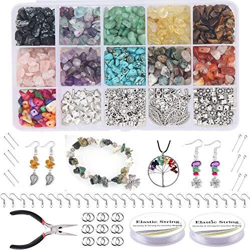 Queta Perline Kit Creazione Gioielli 900 Pezzi, Kit di Creazione di Gioielli per Ragazze, Pietra Ciondoli Collana Bracciale Orecchini Bigiotteria DIY, Compleanni, Natale