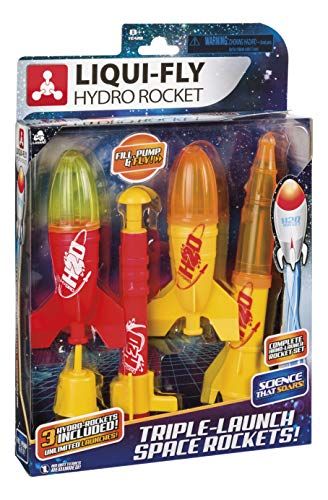 Toysmith Triple-Launch Deluxe Water Rocket Set, Endless Launches, Liqui-Fly Hydro Rockets, Multi (4066)