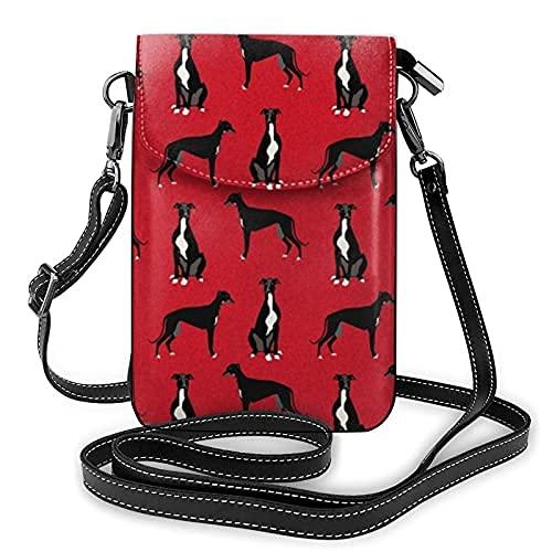 Bolso ligero de cuero de la PU del bolso pequeño Crossbody de la mini bolsa del teléfono celular bolsa de hombro con correa ajustable galgo negro edredón del animal doméstico a juego