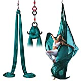 Aerial Yoga Hammock Kit, Anti Gravity Yoga Swing Hammock Acrobatic Dance Non-slip Silk Yoga Swing Low Elasticity Hanging Bodybuilding Fitness <span class='highlight'>Equipment</span> <span class='highlight'>Inversion</span> Trapeze, 8M Dark Green