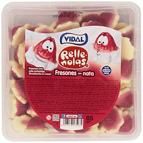 Vidal - Rellenolas Fresones con nata - Caramelo de goma - 65 unidades