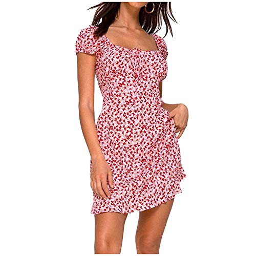 OWildeL Vestido de verano para mujer, espalda descubierta, vintage, retro, cintura alta, hombros descubiertos, de un solo color, vestido largo informal rojo XL