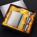 HYY - Petaca de bolsillo curvada de acero inoxidable para uso alimentario con ventana de 7 onzas, set de regalo con dos lentes y embudo fácil de verter