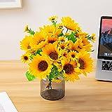 13 Heads Artificial Sunflower Bouquet, Fake Silk Sunflower Flowers, Long Stem Realistic Plants for Home Wedding Garden Party Office Outdoor Indoor Decoration, Flower Arrangement, Bridal Bouquet