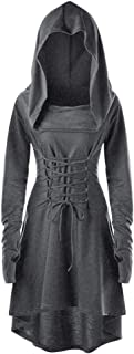 LODDD Women Costumes Clothes Lace Up Hooded Vintage Pullover High Low Bandage Long Dress Cloak