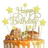 Lifreer Decoración para tarta de cumpleaños dorada, adorno para tarta de feliz cumpleaños con estrellas, decoración para tarta con purpurina con 10 velas doradas para tarta para cumpleaños