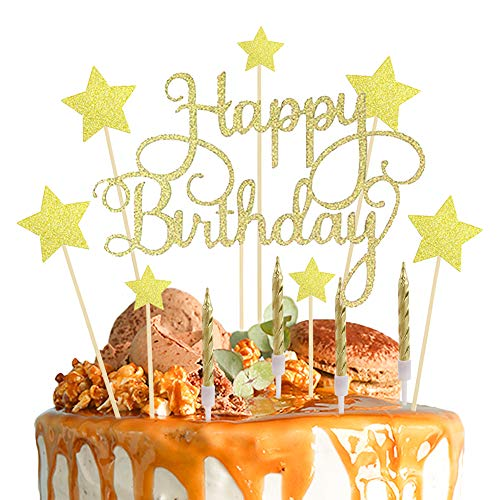 Lifreer Gold Birthday Cake Toppers, Happy Birthday Cake Topper Stars Topper Glitter Cake Decoration with 10pcs Gold Cake Candle for Birthday Party Anniversary Wedding
