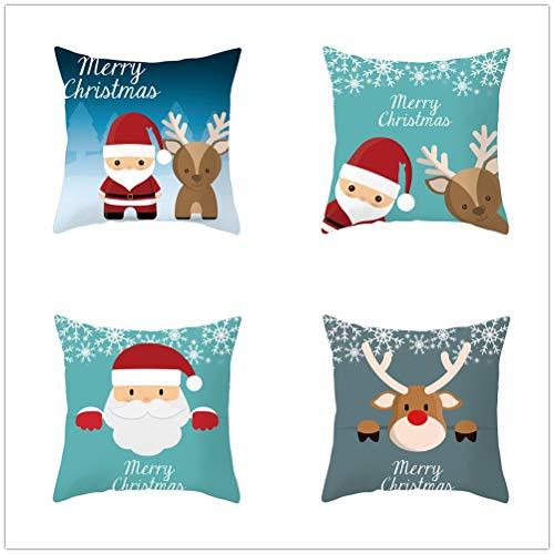 LOYYE 4 Pack Fundas de Cojín Ciervo de Navidad Terciopelo Suave Funda de Almohada Cuadrado Fundas de Cojines para Sofá Cama Coche Sillas Decoración Hogar Throw Pillow Case E793 35x35cm/13.7x13.7in