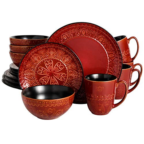 Gibson Elite Milanto 16 Piece Dinnerware Set, Red