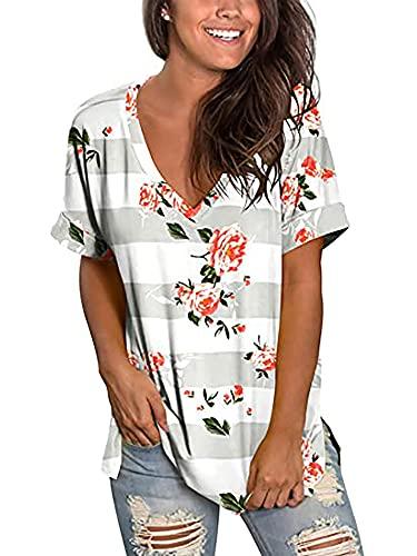 Camiseta de verano para mujer, parte superior de manga corta, estilo vintage, con cuello en V, degradado de color A-gris claro. M