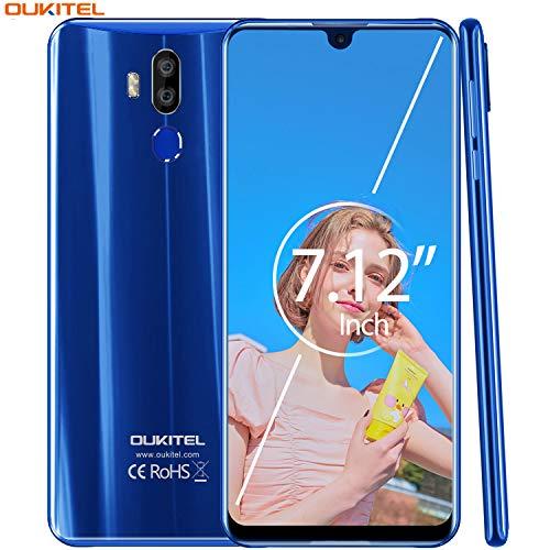 【7.12' FHD+ Pantalla】 OUKITEL K9 Dual 4G LTE Smartphone Libre,Batería de 6000 mAh con Carga rápida de 30W,Helio P30 2.3GHz Android 9.0,4GB RAM+64GB ROM,IMX298 16MP cámara,Global Version(Azul)