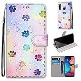 i-Case Flip Wallet Custodia Portafoglio per Samsung Galaxy A20e Dipinto Flip Premium Protettiva PU Pelle Impronta a Colori Modella Cover Multifunzione con 2 Slot Carte Portafogli per Samsung A10e