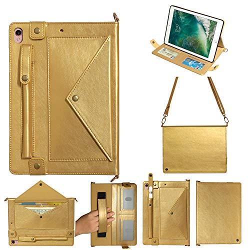 iPad 第6世代9.7インチケース、TABCase PUレザーショルダーバッグ磁気ブラケット、カードスロット付き多機能フラットケース/ペンシルケース/財布ファイル分割ポケット付き手、に適しています 9.7'' iPad 5th/ 6th/ Air1/Air2,ゴールド
