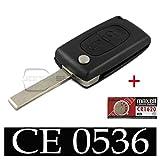 Plip Coque de clé de voiture pour Peugeot 207, 307 et 308 avec Pile Maxell CR1620