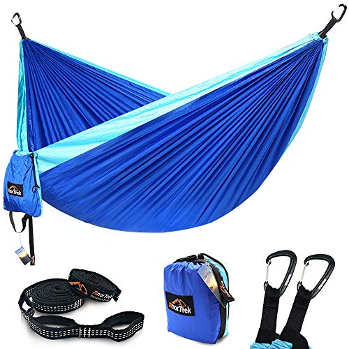 Camping Hammock, Anortrek Lightweight Portable Single & Double Hammock with Tree Straps [10 FT/18+1 Loops], Parachute Hammock for Camping, Hiking, Garden, Yard (Blue&Sky Blue, Single 55''W x 112''L)