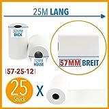 25 x EC Cash Thermorollen | Breite: 57 mm – Durchmesser: 35 mm - Hülsendurchmesser: 12 mm – Länge: 25 m | für Bondrucker, EC-Terminals, etc.