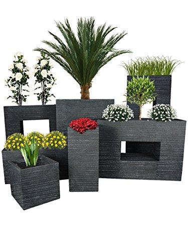 Pflanzwerk® Jardinera Fibra de Vidrio Cube Groove Antracita 23x23x23cm *Maceta a Prueba de heladas*...