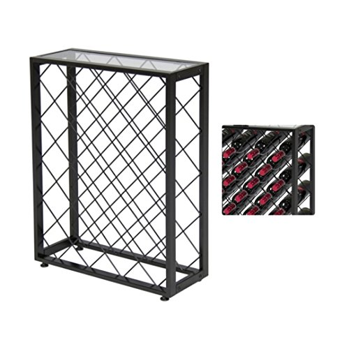 iElegant 32 Bottle Wine Rack W/Glass Table Top Solid Construction Liquor Cabinet Dining Room Kitchen Home Display Space-Efficient Storage #1806