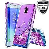 Compatible Samsung Galaxy J3 2018,J3V J3 V 3rd Gen,J3 Orbit Case,Express Prime 3,J3 Star,J3 Achieve,Amp Prime 3 Case W/Glass Screen Protector,Glitter Liquid Quicksand Diamond F/Girls Women,Purple/Blue