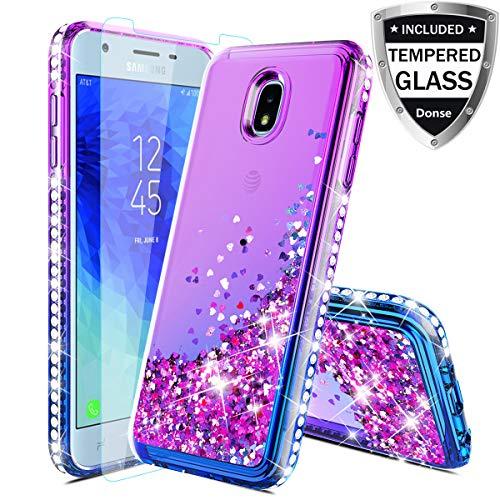 Case For Samsung Galaxy J7 Refine Case,Galaxy J7 Star Case/J7 Crown/J7 2018/J7V 2nd Gen/J7 Aero/J7Top Case w/Glass Screen Protector,Glitter Liquid Quicksand Sparkle Diamond for Girls Women,Purple/Blue