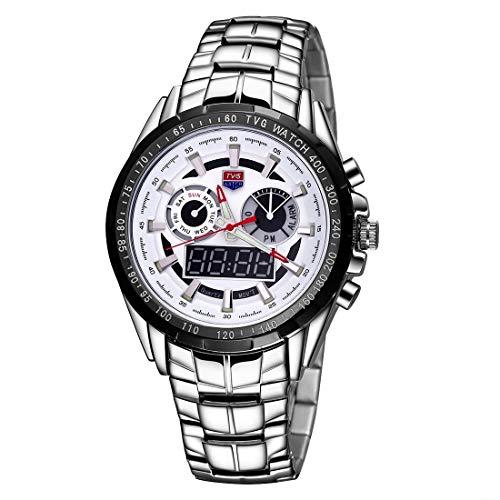 Reloj de moda TVG Bout Dial, reloj de cristal, ventana, Lambent y alarma, y función de visualización de la semana. Cuarzo + movimiento doble digital. Reloj para hombres con banda de aleación. Ocasio