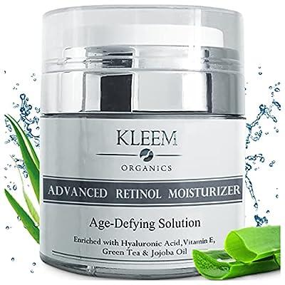 Kleem Organics® Skin Care Pure Anti-Wrinkle Face & Neck Retinol Cream with Hyaluronic Acid - Premium Anti-Aging Face Moisturizer - Anti Aging Firming Facial Cream to Reduce Wrinkles, Dark Spots, Fine Lines, Sun Damage - 1.7 Oz