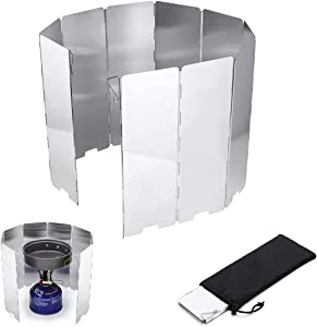 Folding Outdoor Stove Windscreen Aluminum Camping Stove Windshield with Carrying Bag, Lightweight Butane Burner Windshield, 10 Plates 33