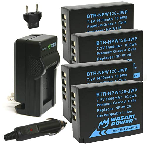 Wasabi Power Battery (4-Pack) and Charger for Fujifilm NP-W126, NP-W126S