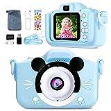 Camara Fotos para Niños-Mini cámara digital recargable,videocámara regalos para niños de 3 a 12 años,con pantalla de 2 pulgadas/Funda de silicona resistente a los golpes/Tarjeta de 32G incluida (Blue)