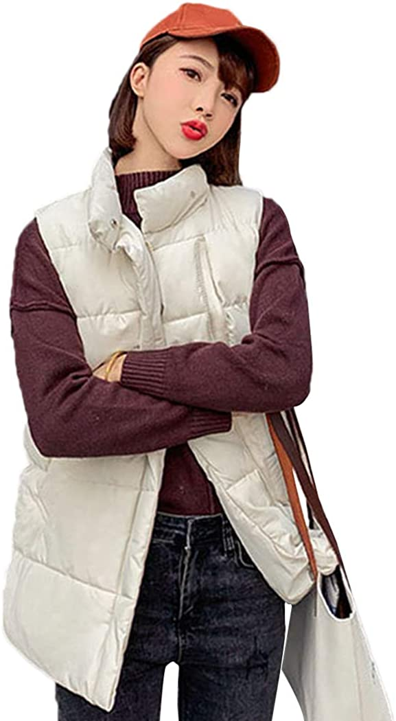 bbpawing Women Quilted Gilet Zip Sleeveless High Neck Casual Vest Jacket