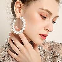 Pearl Hoop Earrings for Women Fashion Pearl Hoops Drop Dangle Earrings Gifts for Women [並行輸入品]