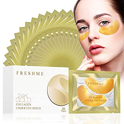 Gold Collagen Under Eye Mask - Collagen Anti Wrinkle Aging Puffiness Eye Patches Masks Deep Hydration Relieve Dark Circles Eye Moisturising Pads 20 Pairs from Freshme