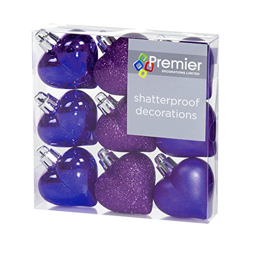 Christmas Decorations 9 Pack 40mm Multi Finish Heart baubles - Purple