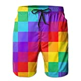 FEIGO Gay Pride Man Beach Basketball Athletic Workout Fashion Flat-FrontCasual Board Shorts White