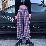 haochenli188 Pantalones Cargo Mujer Hippie Pantalones A Cuadros Morados Harajuku Streetwear Pantalones A Cuadros con Cadena Pantalones De Cintura Alta L Violeta