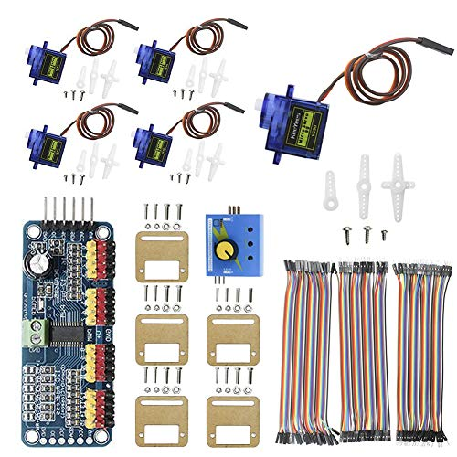 KeeYees Micro Servo Motor Kit mit 5 Stücke SG90 9G Servo Motor und Servo Halterung + PCA9685 Modul 16 Kanal Servomotor Treiber IIC + RC Servoprüfer 3CH ECS CCMP+ 3 Stücke Dupont Jumper Drähte
