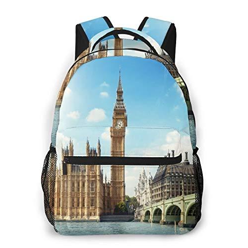 MEJX Mochila Paquete de Almacenamiento,Big Ben en día soleado, Londres,Casual Bolsa de Estudiantes de la Escuela Mochila Portátil de Viaje