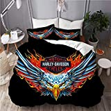 XINGAKA Copripiumino Stampato,Harley Davidson Red Blue Abstract Eagle Motor Club,Completo da Letto in Poliestere Moda 3 Pezzi Single-135 * 200cm