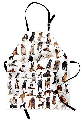 Lunarable Dog Lover Apron, Composite Picture Dogs Australian Sheepdog Belgian Boxer Italian Mastiff, Unisex Kitchen Bib with Adjustable Neck for Cooking Gardening, Adult Size, Brown Black
