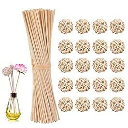 80 pièces Reed bois huile diffuseur bâtons de bâton de Reed de rotin de remplacement + 20pcs boules de rotin en osier…