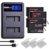 DIGIeye GoPro Hero 5/6/7 1500mAh Battery (3-Pack) and LCD Dual USB Charger for Gopro Hero 7 Black,Hero 6,Hero 6 Black,Hero 5, HERO5 Black,Hero (2018),GoPro AHDBT-501 Batteries